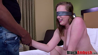 Busty amateur Eden blowjob tricked into interracial casting
