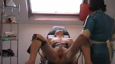 Enema in gyn chair