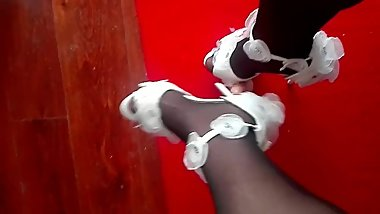 High heels trampled on dildo