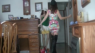 Floral dress thigh high boots dancing.mp4