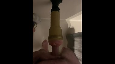 Fleshlight pussy in the shower sucking action with lots of lube