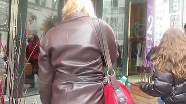 Mature-Brown leather coat