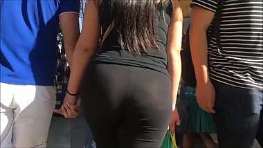 huge ass in black see-through yoga pants blue thong on display