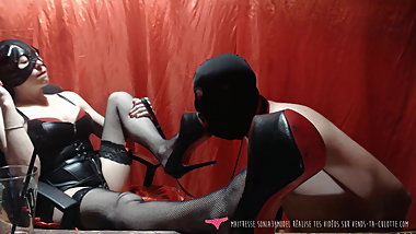French Goddess with her foot fetish dog on Vends-ta-culotte