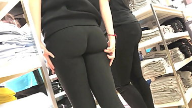 Peach ass in see through leggings