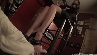 Amanda and her friend enjoy in bar and slave is helpless to amanda