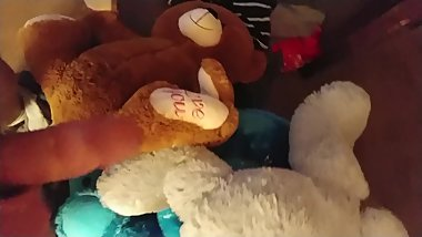 After emptying my bladder in her room I had an orgy with her Stuffies