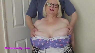 Sally's website member gets a free feel of her tits