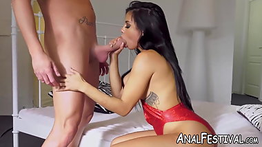 Super hot Canela Skin takes fat dick deep inside the ass