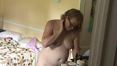 Spying chubby wifes bush and cute naked tits