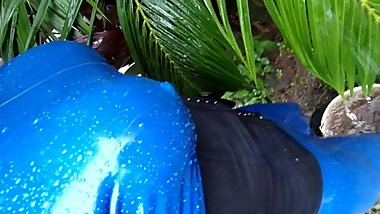 blue latex catsuit in my garden