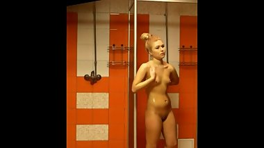 Blonde girl in the public shower