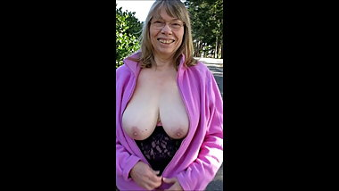 72 year old Granny Reba tits out on street with slow motion