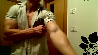 Flexing Huge Ripped Biceps in Tight Sleeves