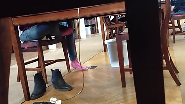 Cute Girl Library Pink Socks