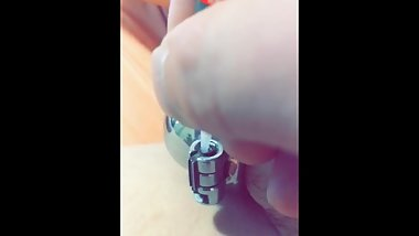 Extra small Chastity cage glued permanently
