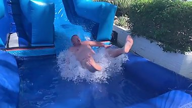 Naked Waterslide at 'Bears on the Prowl' at the CCBC Resort