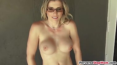 Horny blonde stepmom gets pussy drilled raw