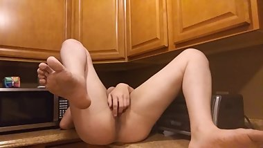 Sexy Trans Girl Fingering Herself On Kitchen Counter