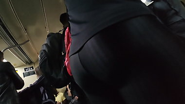 Hot sexy milf ass in shiny black leggings