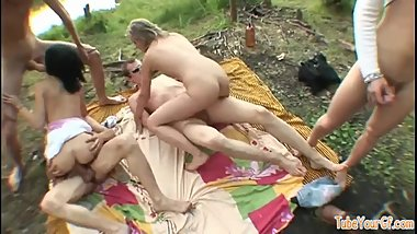 Orgy outdoors.