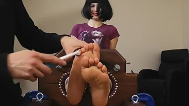 UK Tickling - Socks and Barefeet very ticklish Portia
