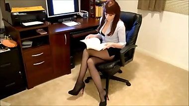 Sexy Office Secretary in Black Pantyhose 1