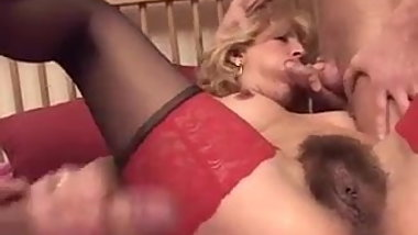 lovely blonde takes two cocks
