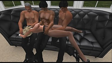 Fondled in pantyhose by 3 guys