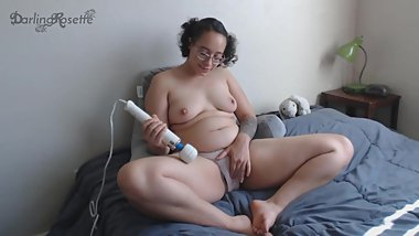 Vibe over panties edging to big orgasm