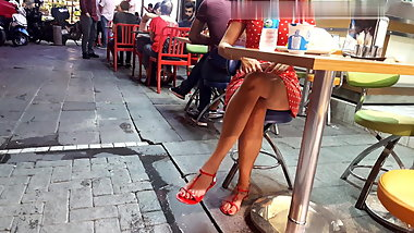 Sexy sitting upskirt, perfect legs feets toes