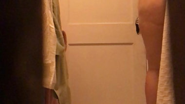 Spying chubby wife before shower hidden cam