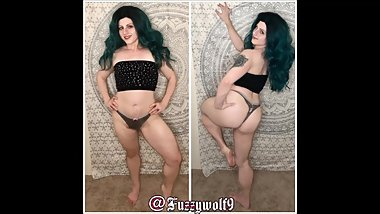 Blue haired babe photo slideshow including zombie and catgirl