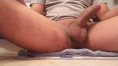 Latino playing with is uncircumcised thick cock