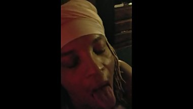 Ebony great deep throat swallow for some gas money