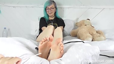 British Alt Girl Lily Has Ankles Tickled And Feet Tickled - POV