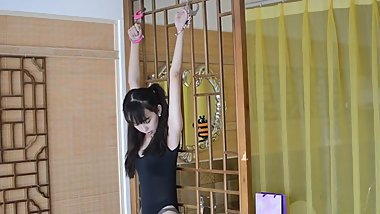 Chinese cute girl handcuffs BDSM bondage