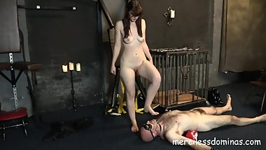 Humiliated by Vivienne l'Amour - Golden Shower and Boots Worship