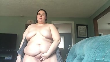 bbw wife showing fat belly