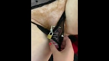Sub cockteased by hitachi in chastity cage