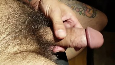 stroking my hairy cock, no cum