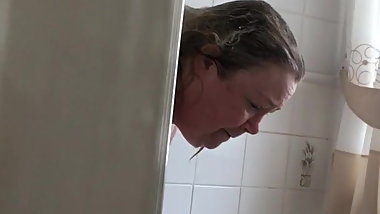 My bbw wife in the shower unaware