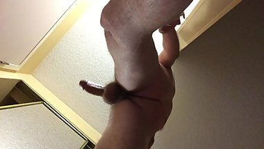 underside view of hot masturbation