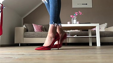 Goddess Tiffany Red Highheels walk Softsoles