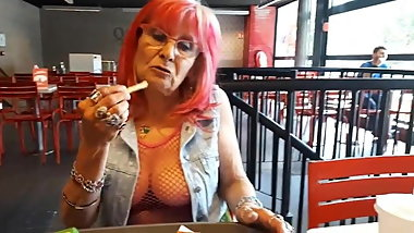 Sexy granny flash tits in public
