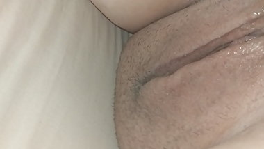 Wifes chubby pussy from behind