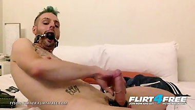 Tyson Turner on Flirt4free - Fetish Hunk w Ball Gag Strokes His Big Cock