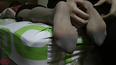 Tickle Two Chinese College Students' Nylon Feet