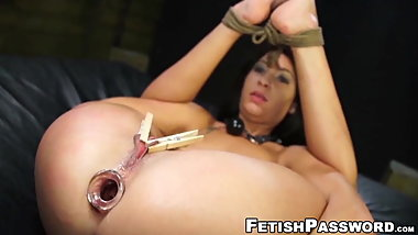 Tit tormented sub babe anally destroyed with huge cock