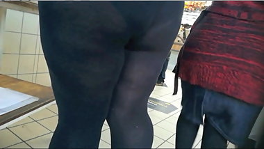 Thick Tight Ass In See Through Leggings